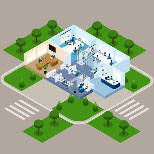 One Storied Office Isometric Interior