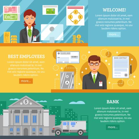 Banktjänster Horisontella Banderoller