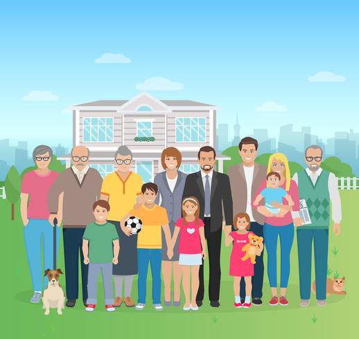Ilustración de la gran familia vector