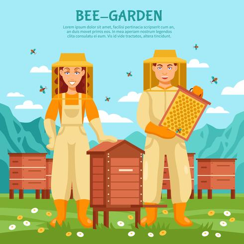 Honey Beekeeping Illustration Poster vector