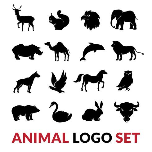 Set di icone logo nero di animali selvatici