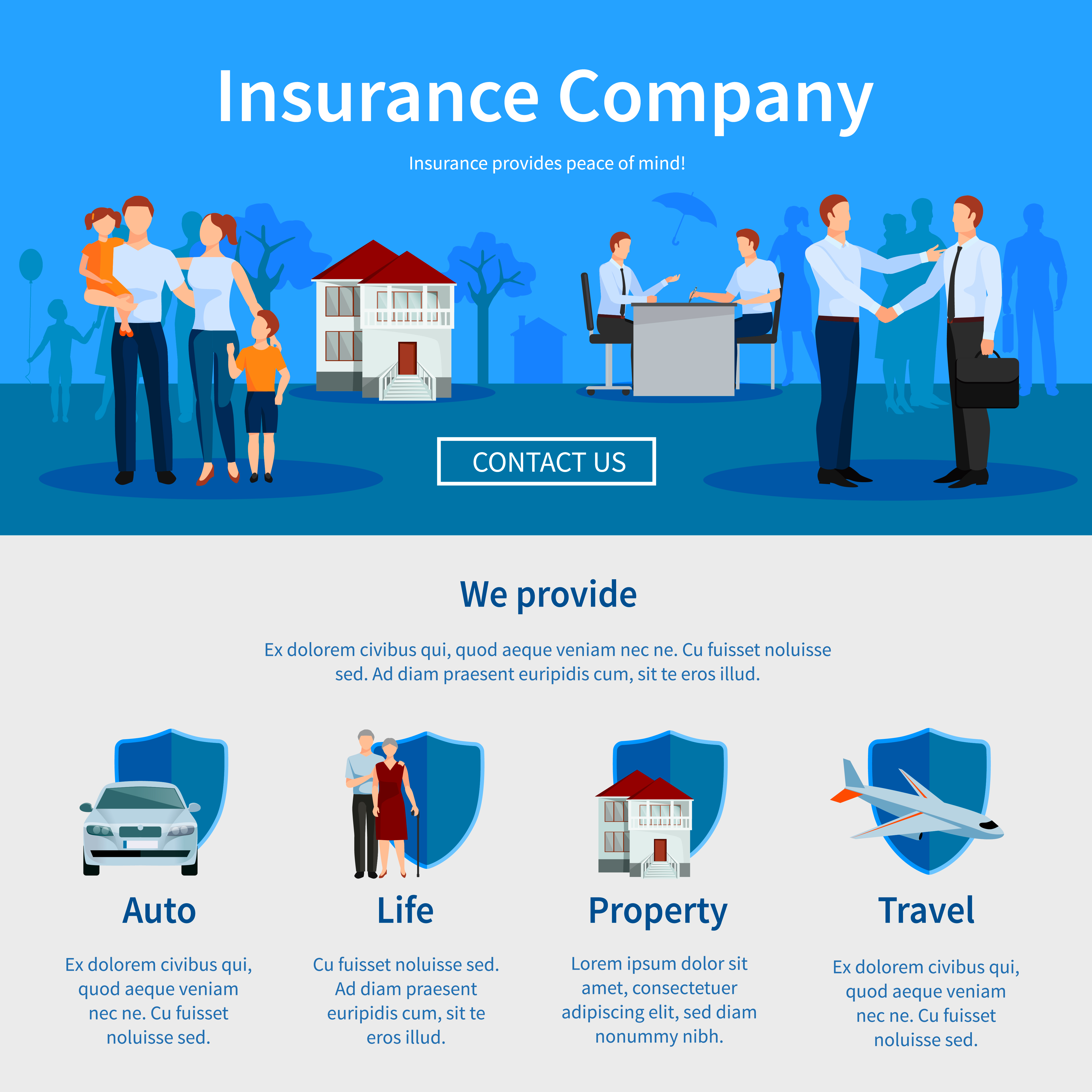 Insurance Company One Page Website - Download Free Vectors ...