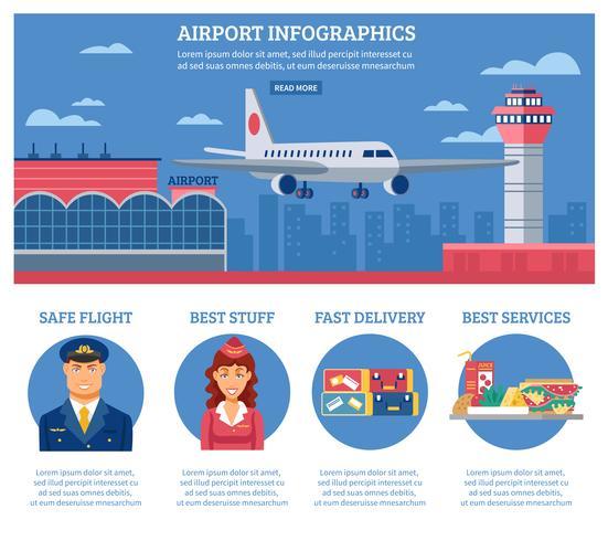 Modelo de design de infográficos de aeroporto vetor