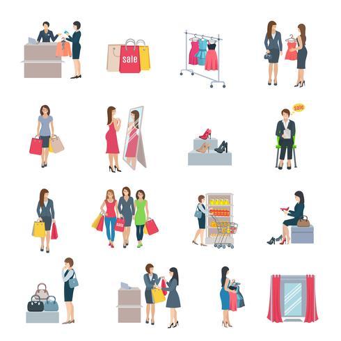 Iconos planos de compras de mujer