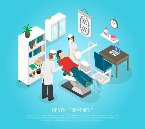 Chequeo Dental Tratamiento Tratamiento Isométrico Poster vector