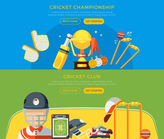 Cricket Club And Championship Banderoller vektor