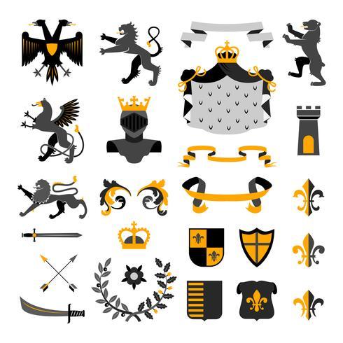 Colección de emblemas de símbolos heráldicos negro amarillo