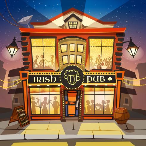 Pub irlandés ilustración de dibujos animados