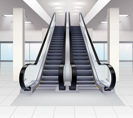 Up And Down Escalators Interior Concept vector