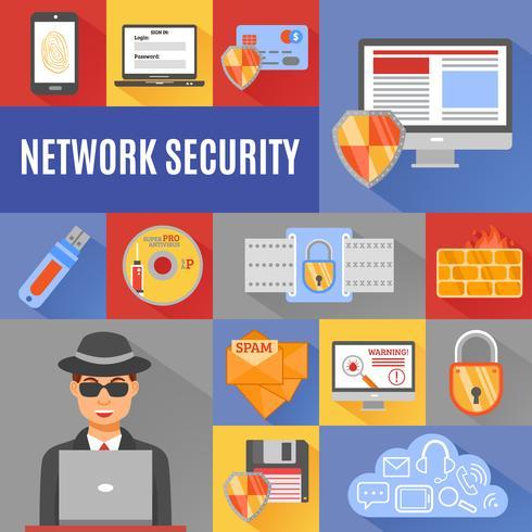 Netwerkbeveiliging decoratieve pictogrammen vector