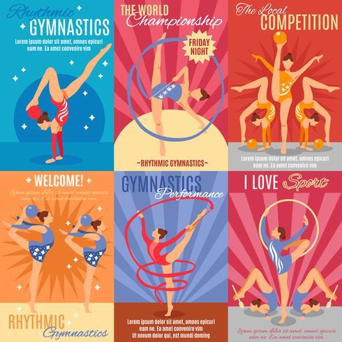 Colección de carteles de gimnasia rítmica vector