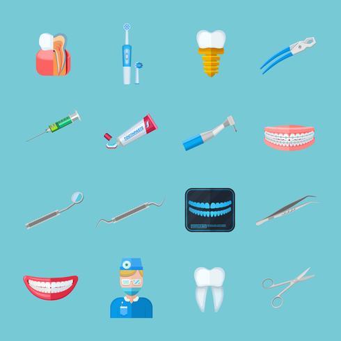 Icone piane isolate del dentista vettore
