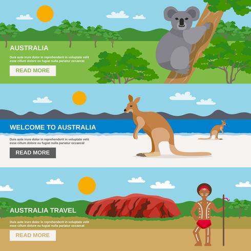 Conjunto de Banners horizontales de viajes de Australia vector