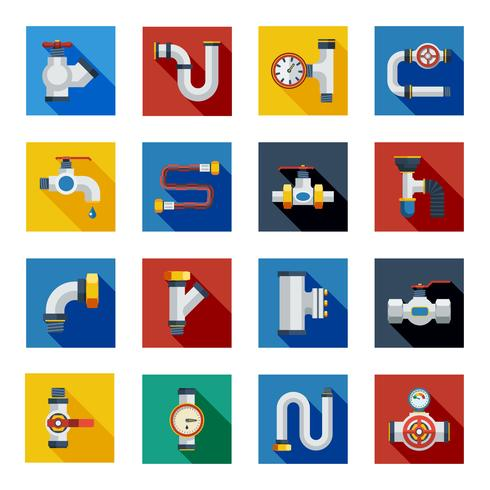 Pipes Shadow Icons Set vector