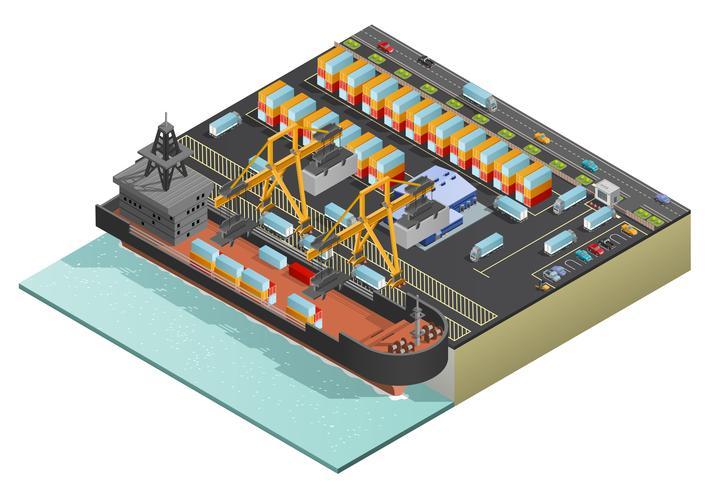 Isometric Marine Cargo Transportation vector