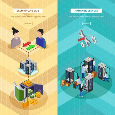 Two Datacenter Isometric Vertical Banners