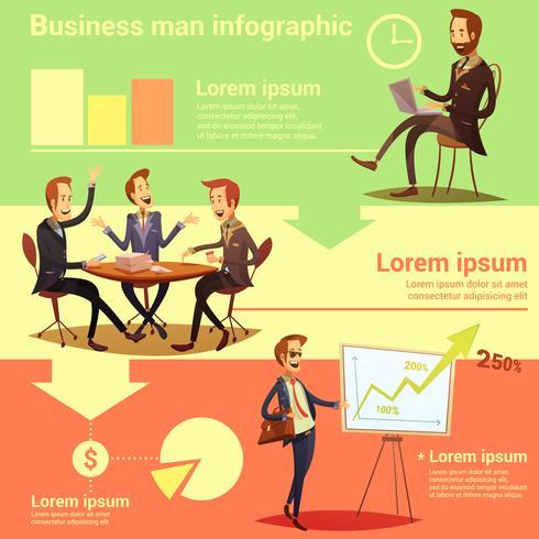Empresario infografía conjunto vector