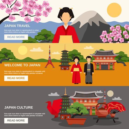 Japanische Kultur 3 horizontale Banner gesetzt
