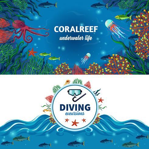 Banners horizontais de vida subaquática do mar vetor