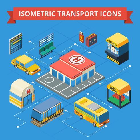 Fluxograma isométrico de transporte de passageiros vetor