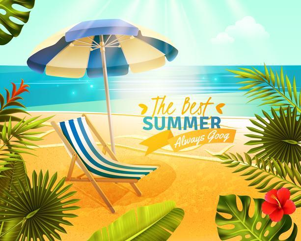 Tropisk Resort Cartoon Illustration