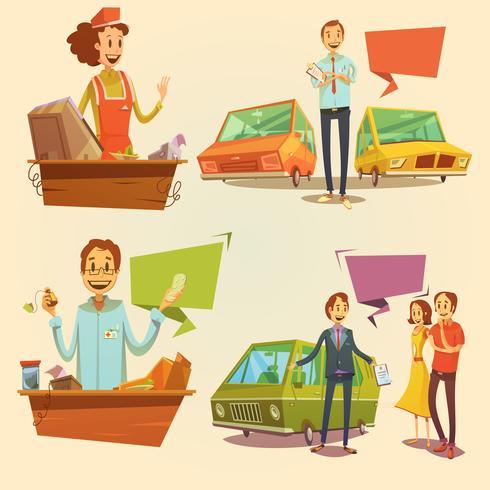 Conjunto de dibujos animados retro vendedor