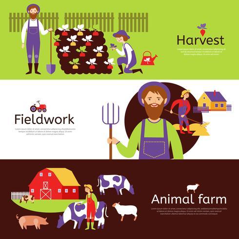 Conjunto de Banners horizontales de cosecha de trabajo de campo Farmers