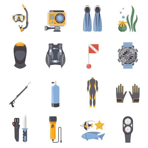 Buceo y snorkeling iconos decorativos planos vector