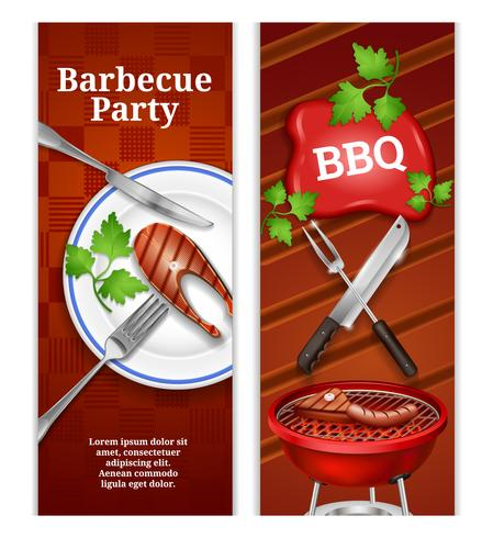Barbecue verticale banners vector