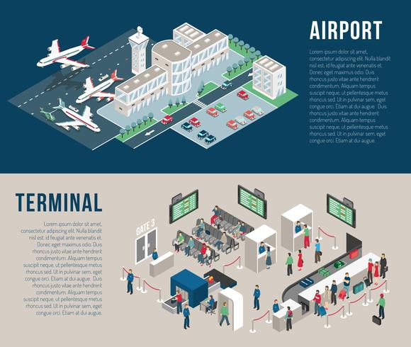 Luchthaven isometrische horizontale banners
