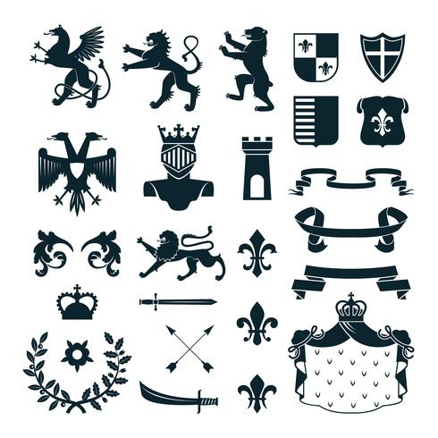 Heraldic Symbols Emblems Collection Black