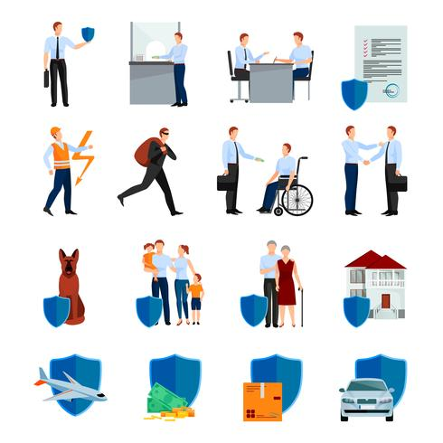 Services Of Insurance Company Icons Set