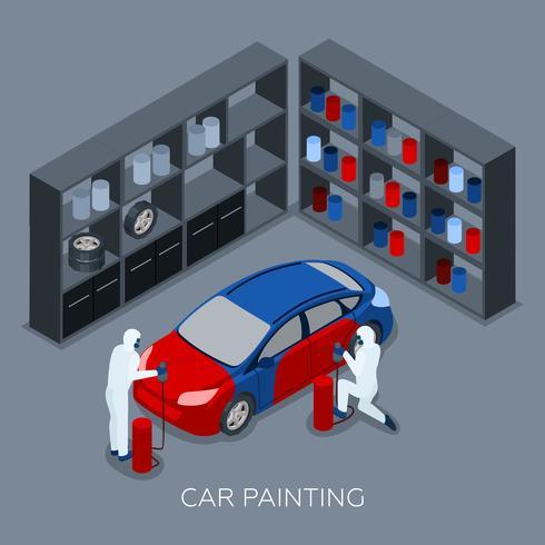 Autos de pintura autoservicio bandera isométrica