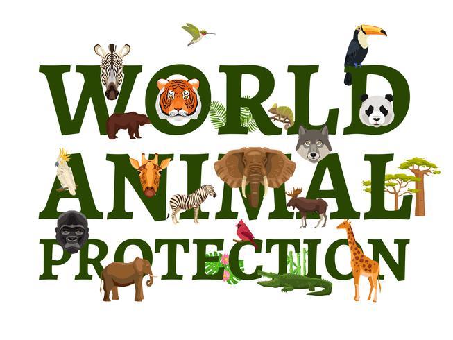 wilde Tierschutzillustration