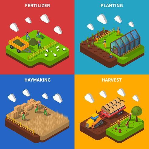 Conjunto de iconos de concepto isométrico de granjero vector