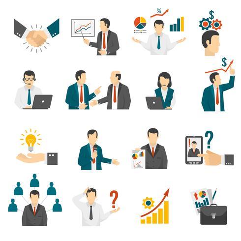 . Set di icone di servizio di consulenza di formazione aziendale.