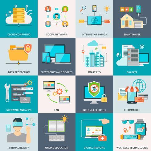 Concepto de tecnologías de información iconos planos
