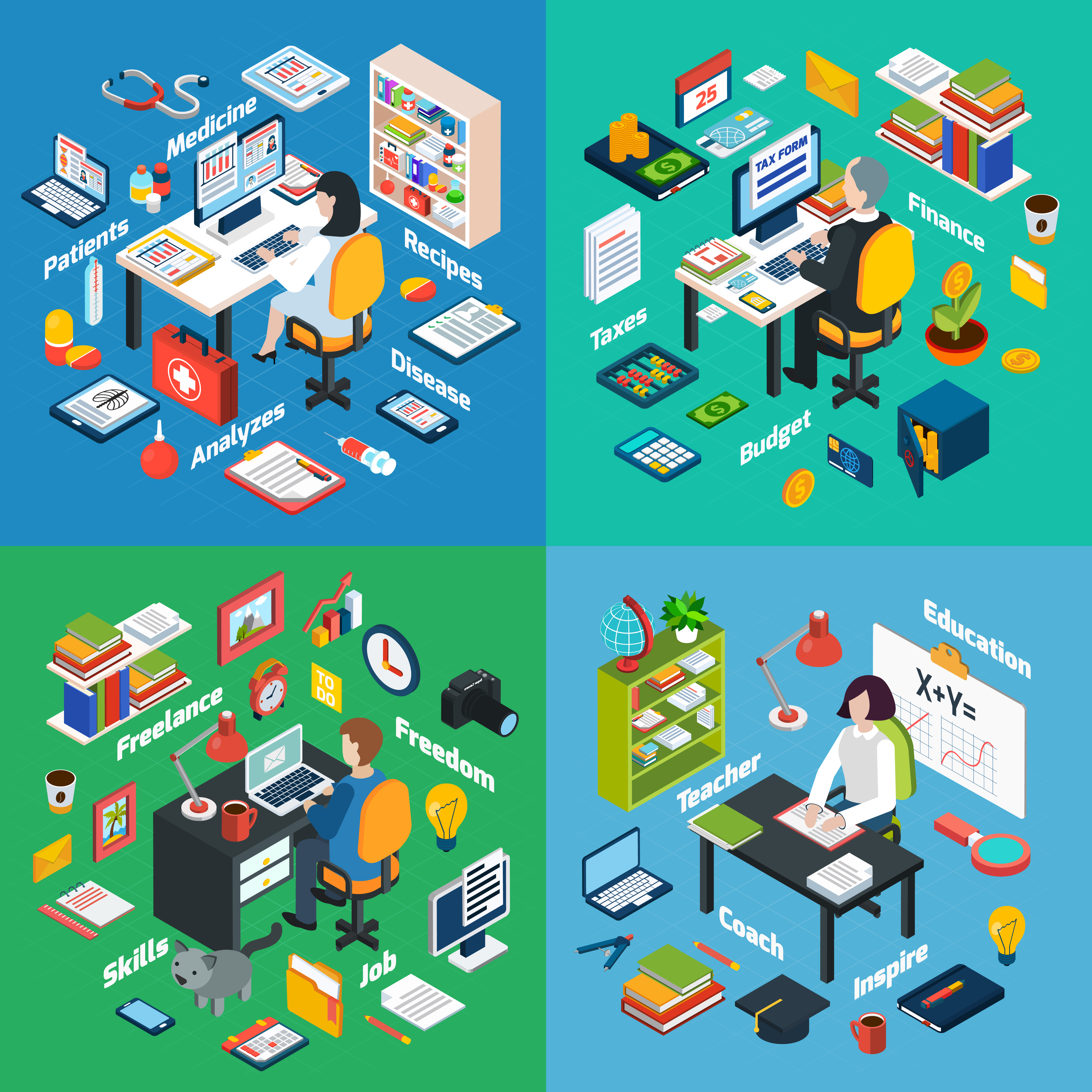 Professional Workplace Isometric 4 Icons Square - Download ...