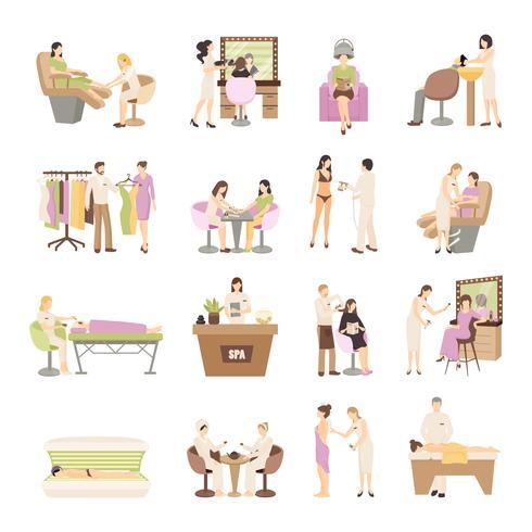 conjunto de personas salón de belleza spa