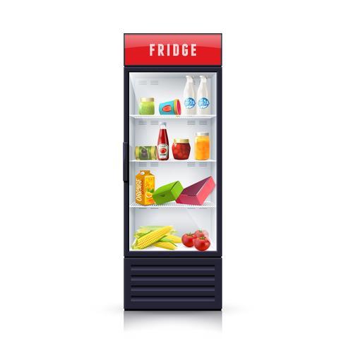 Alimento nell'icona realistica dell'illustrazione del frigorifero