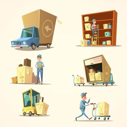 Conjunto de dibujos animados retro de almacén vector