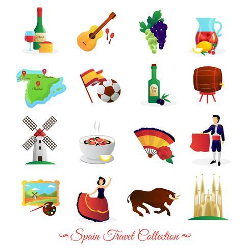 Conjunto de símbolos culturales de España para viajeros.