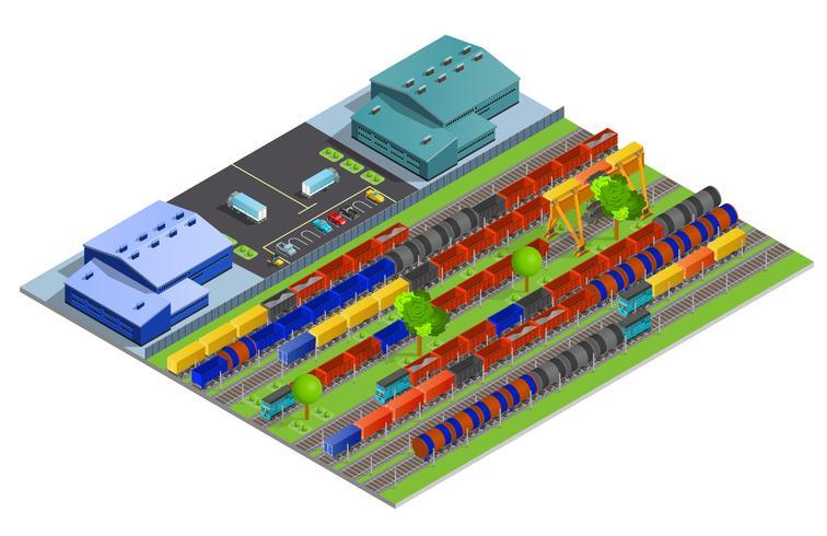 Conceito de Design isométrica de transporte de carga de ferrovia