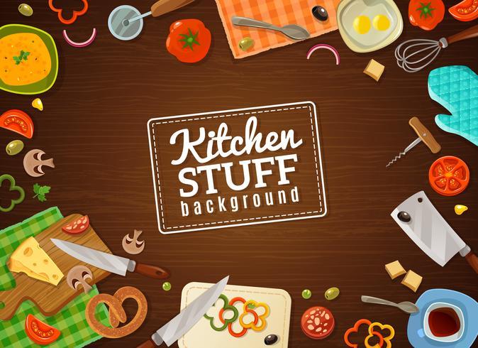 Fondo de cocina con cosas de cocina vector