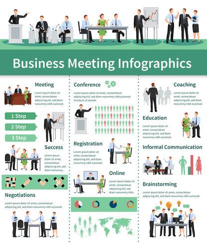 Conjunto de infografía reunión de negocios