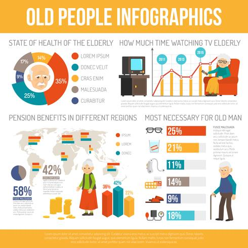Aging People Life Flat Infographic Banner vektor