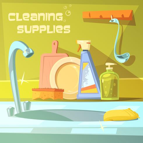 Ilustración de suministros de limpieza