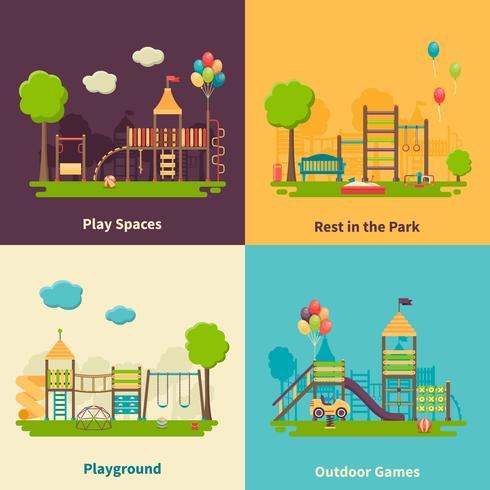 Concepto de patio de recreo plano vector