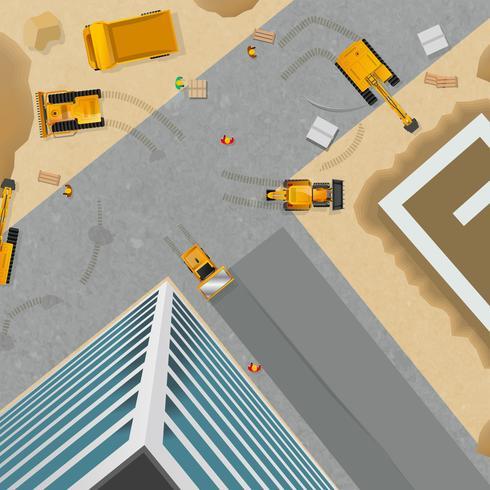 Cartel de la vista superior de construcción