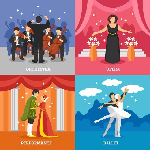 Theatrical Stage 2x2 Design Concept Set